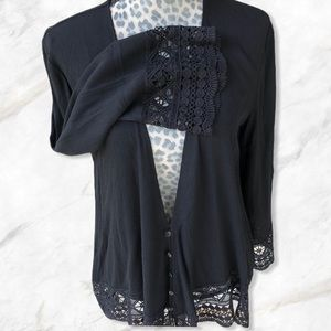 Simply Noelle Black Lace Button Up Cardigan Size M